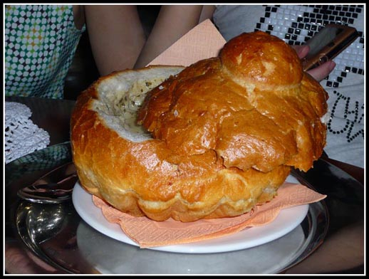 Zurek w chlebie (white borsch served in bread)