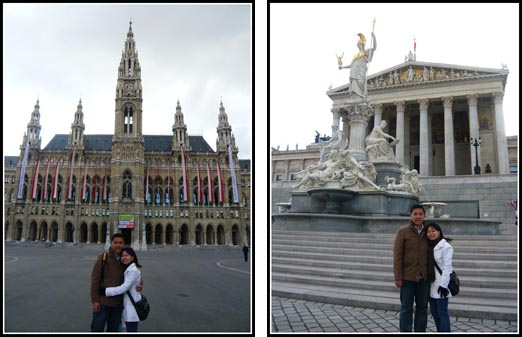 Rathaus and Parliament Vienna Austria