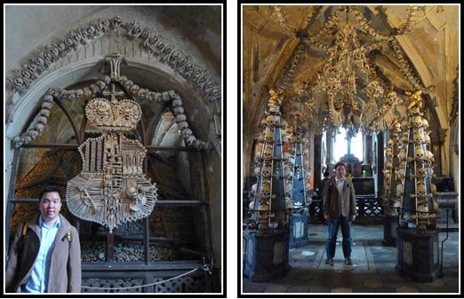 Sedlec Ossuary Bone Coat of Arms and Chandelier