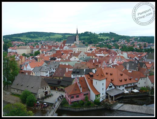 cesky krumlov town view from castle