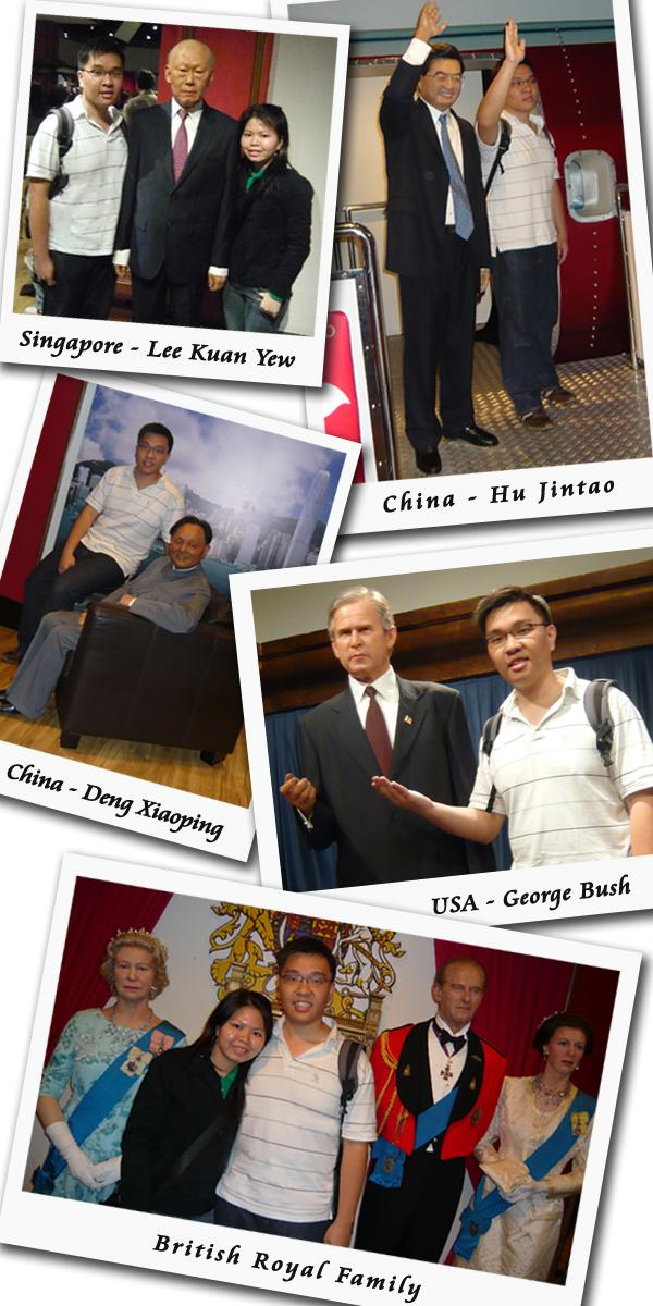 Madame Tussauds Hong Kong Wax Museum Asian World Leaders Hu Jintao, George Bush, Deng Xiaoping