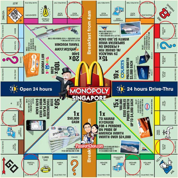 McDonalds Monopoly Game Board-Singapore