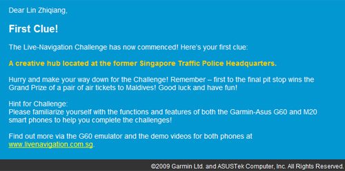 Asus Garmin Live Challenge First Clue