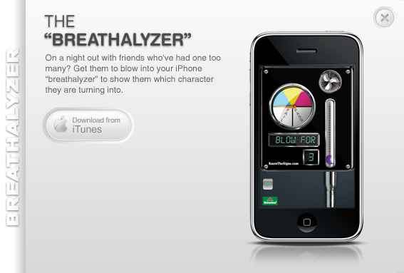 Heineken iPhone App Breathalyzer