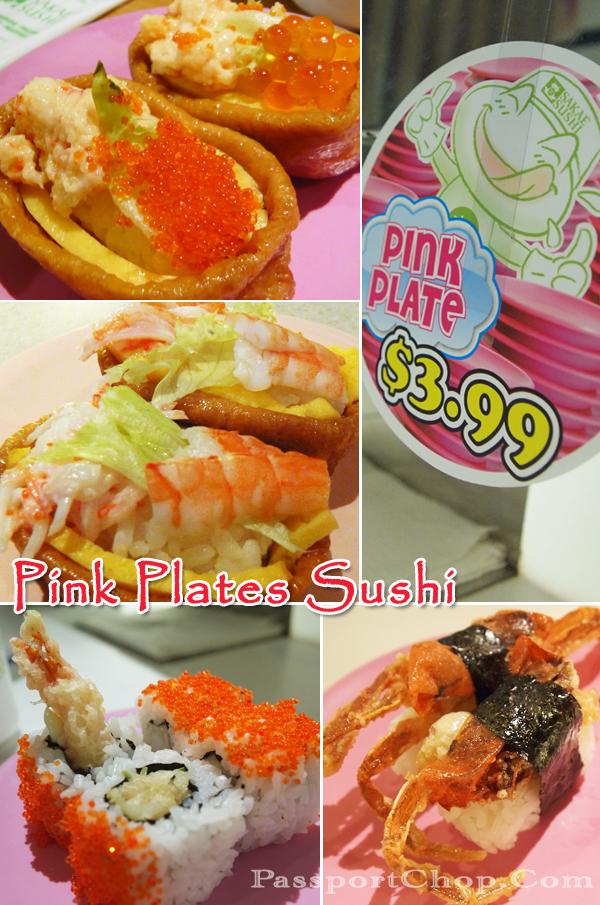 $3.99 Pink Plates Sushi Sakae Sushi