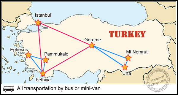 Turkey Trip Itinerary Map
