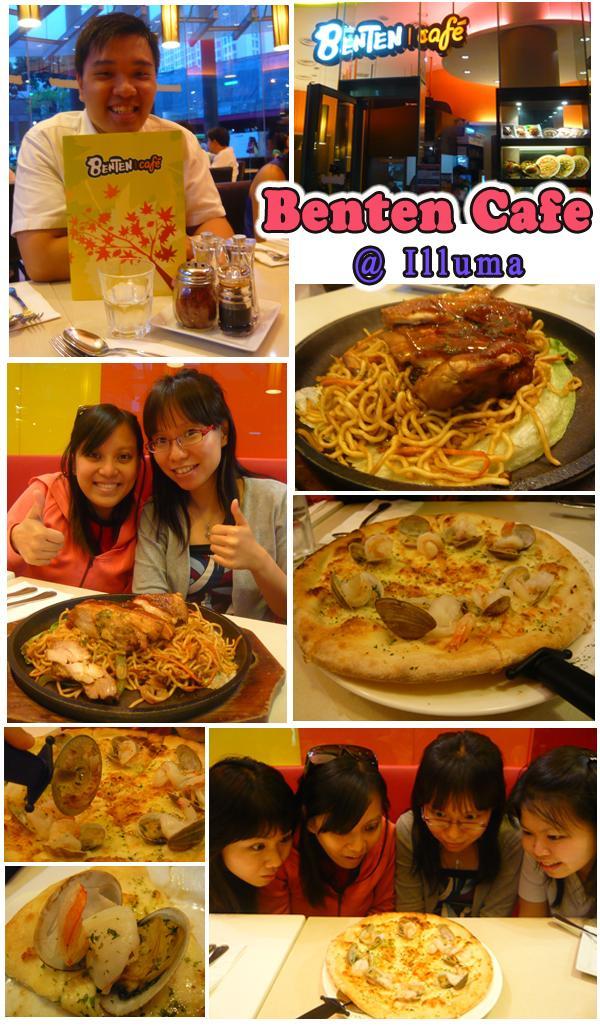 Benten Cafe Garlic Shrimp Pizza Teriyaki Chicken Yakisoba