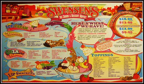 Ice Cream Shop Menu Swensen Ice-Cream Buffet Menu