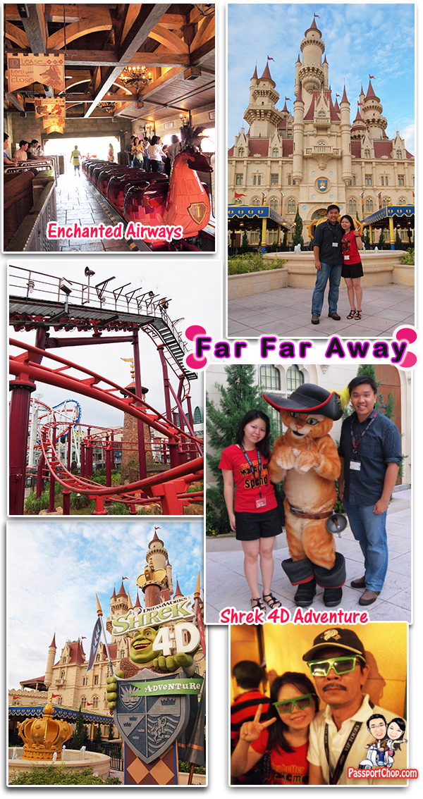Far Far Away Universal Studios Singapore Theme Park Puss in Boots Shrek and Princess Fiona Enchanted Airways