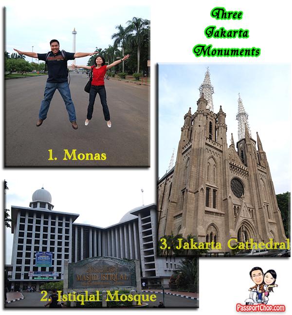 3 Jakarta Monuments Monas, Masjid Istiqlad Mosque, Jakarta Cathedral