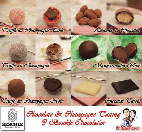 Chocolate and Delamotte Champagne Tasting at Beschle Chocolatier Suisse Mandrinettes Truffe au Champagne