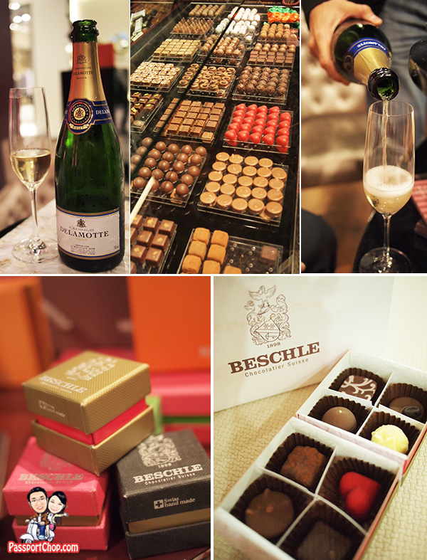 Chocolate and Delamotte Champagne Tasting at Beschle Chocolatier Suisse Switzerland