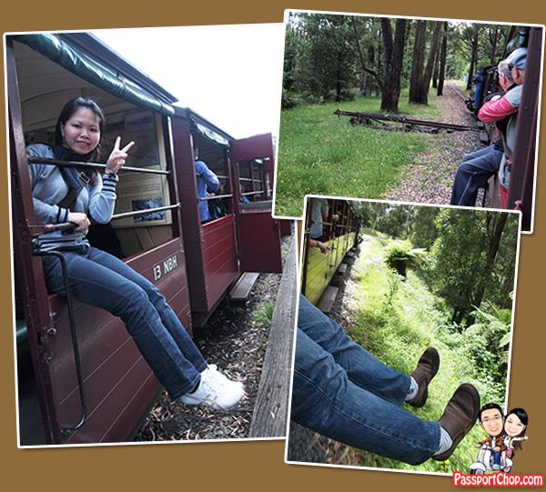 Puffing Billy Steam Train Railway Belgrave Melbourne Victoria Australia hang Dangle Your legs ride