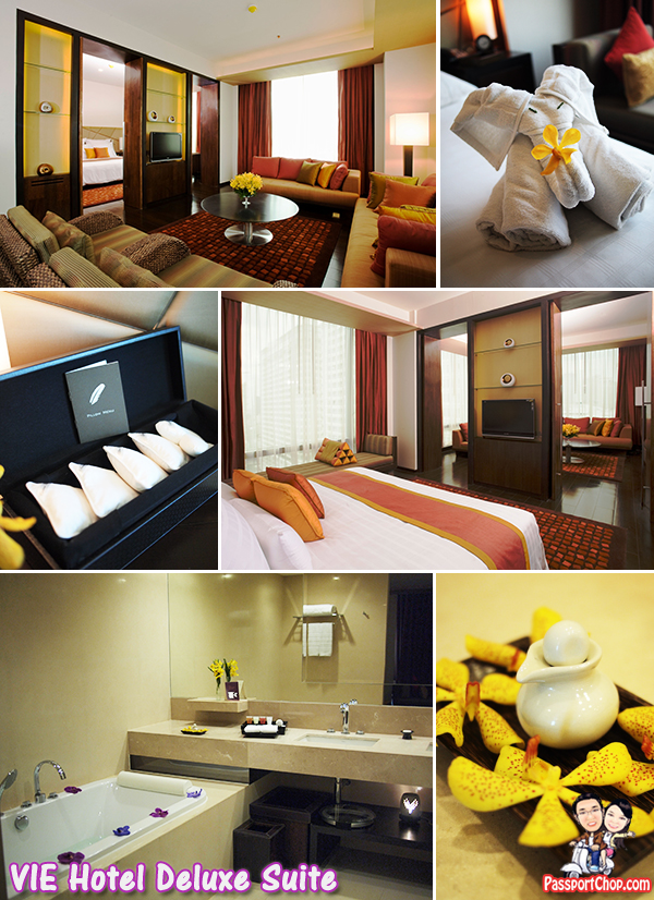 VIE Hotel Deluxe Suite Room Pillow Menu Bathroom Vanity Living Room Spacious