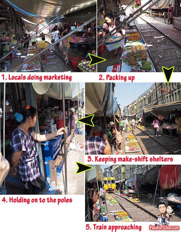 Maeklong Train Railway Market Photograph Talad Rom Hoop Bangkok Thailand Samut Songkram Sardines Approaching Train Danger madness