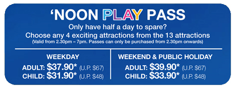 Sentosa Play Day Noon Half Day Pass 4 of 13 Attractions Value for Money