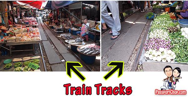 Maeklong Train Railway Market Photograph Talad Rom Hoop Bangkok Thailand Samut Songkram Sardines