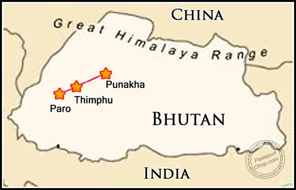 Bhutan Map Itinerary 4D3N Itinerary