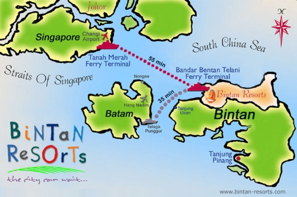 Bintan Map Singapore 45 Minutes Journey Bintan Resort Ferries (BRF)