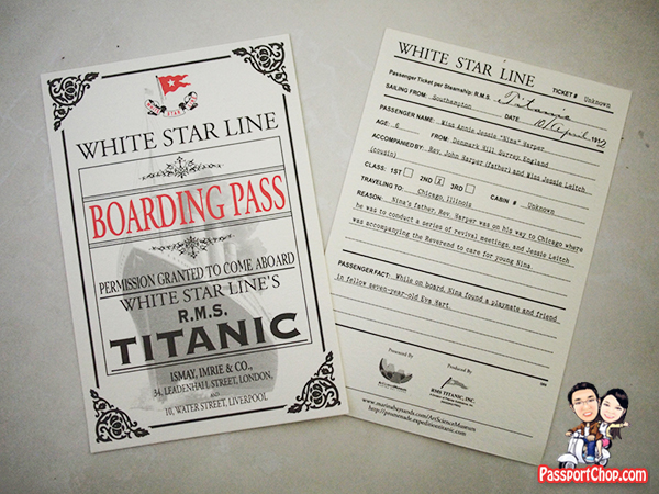 ArtScience Museum Marina Bay Sands Titanic Exhibition Boarding Pass Museum Tickets