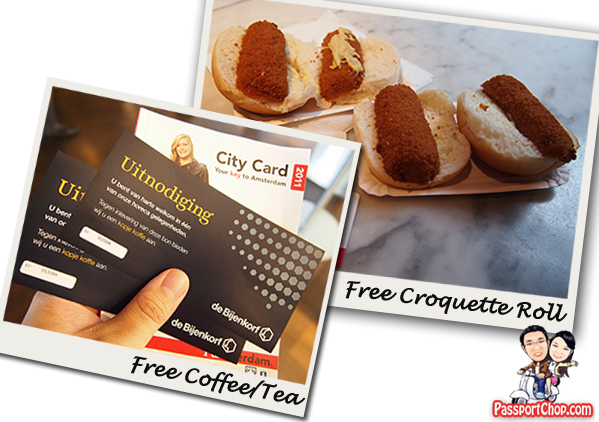 free Snacks Croquette Tea coffee I Amsterdam Card City Pass 72 hours Public Transport Attractions Museum Fast Lane Free