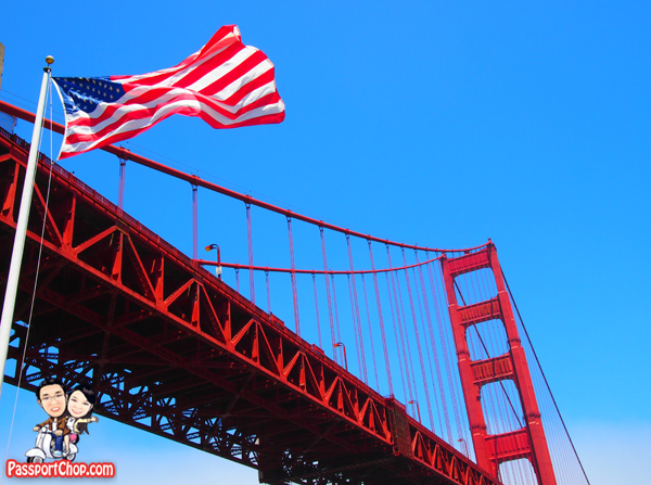 USA United States of America Flag Golden Gate Bridge San Francisco California
