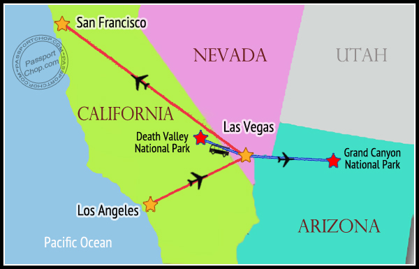 USA MAP Itinerary West Coast 2 Weeks 14 Days Las Vegas San Francisco Los Angeles