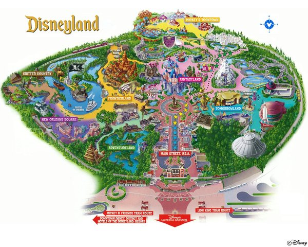 Los Angeles Anaheim Disneyland Park Map