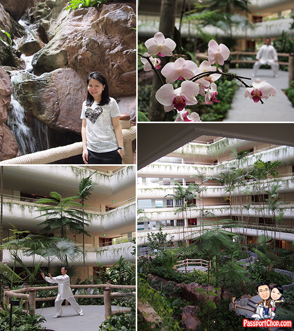 Outdoor Waterfall Shangri-La Hotel Singapore Premier Balcony Suite Staycation Review Garden Wing Tai-Chi