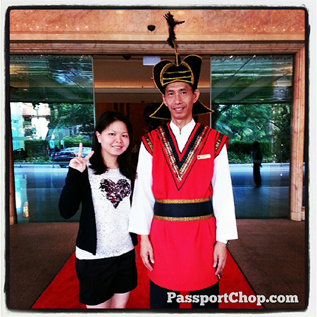 Friendly ShangriLaHotels Doorman with his distinctive Tibetan warrior style uniform Garden Wing Shangri-la Singapore #LovingtheMoment staycation