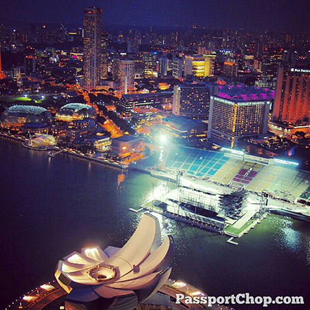 Breathtaking view of ArtSciMuseum & Esplanade from MarinaBaySands skypark @ Marina Bay Sands Hotel