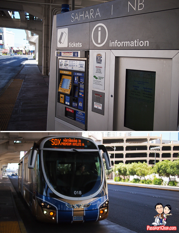 Express RTC Sahara Monorail station Bus Public Transport Strip Shopping Outlet USA Shopping Factory Outlet Premium Outlet Las Vegas North VIP Discount Booklet