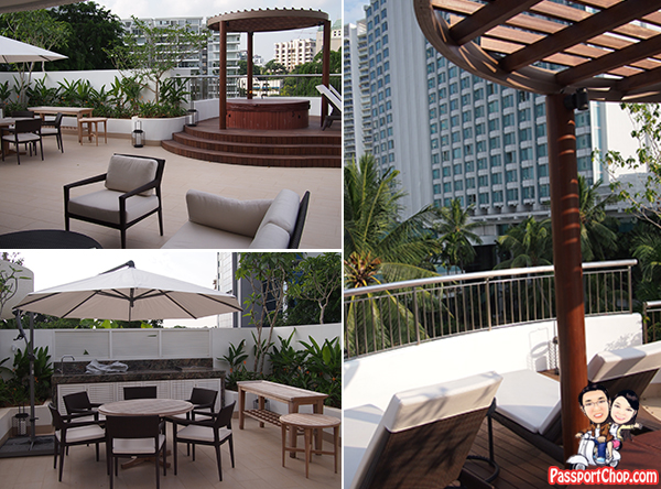 Outdoor Jacuzzi Barbeque Pit Family Gathering Shangri-La Hotel Singapore Premier Balcony Suite Staycation Review Garden Wing The Line