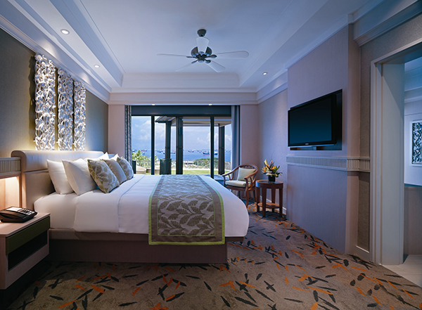 Deluxe Sea View Suite Bedroom Rasa Sentosa Shangri-La Hotel Staycation Beach Holiday Vacation Family Friendly Swimming Pool