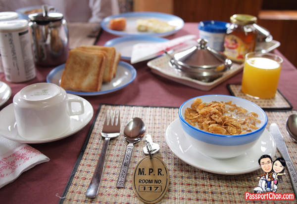 Bhutan Hotel Review Punakha Meri Puensum Resort Great Views of Punahka Valley Breakfast Toast and Omelette