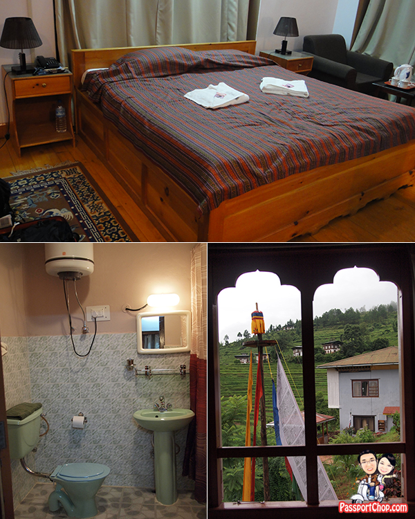 Bhutan Hotel Review Punakha Meri Puensum Resort Great Views of Punahka Valley Simple Bedroom Bathroom Amenities