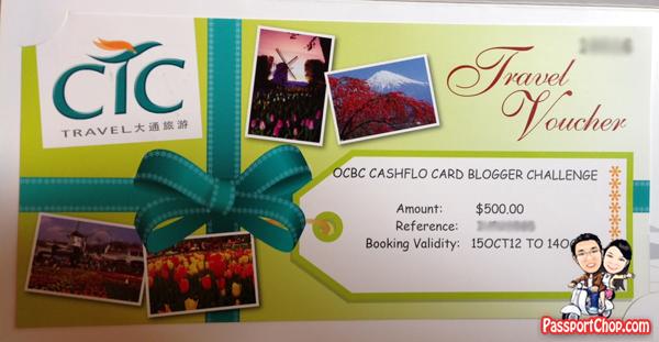 PassportChop OCBC Cashflo Dream Itinerary Contest Prize $500 CTC Travel Voucher