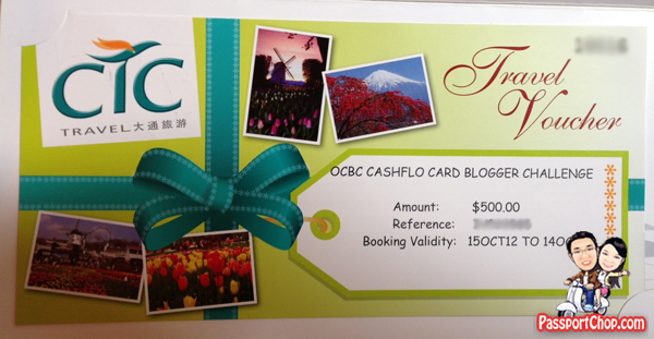 PassportChop OCBC Cashflo Dream Itinerary Contest Prize $500 CTC Travel Voucher