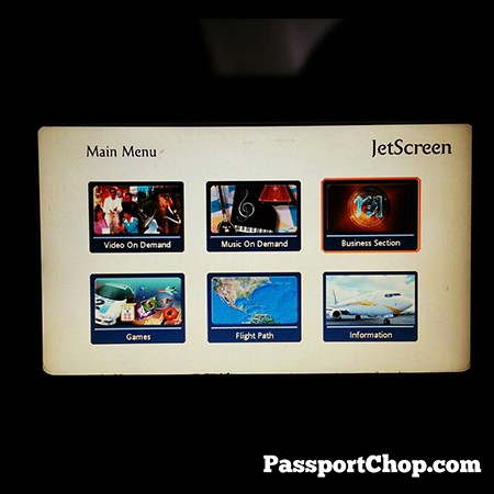 Jet Airways Inflight Entertainment Touch Screen selection of Movies International and Indian Dramas