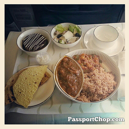Jet Airways Onboard Meal Chicken Dhansak Chapati Roti Chocolate Mousse Salad Premiere Class Business