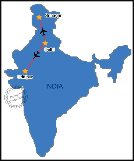 India Map Srinagar Udaipur Itinerary Jet Airways