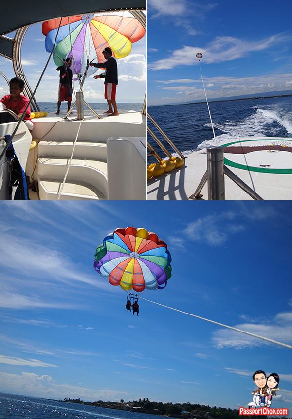 Cebu Plantation Bay Resort and Spa Philippines Sea Sports Para-Sailing Standard Flight 150 metres colorful parachute Mactan Channel Cruise Aqua Sports