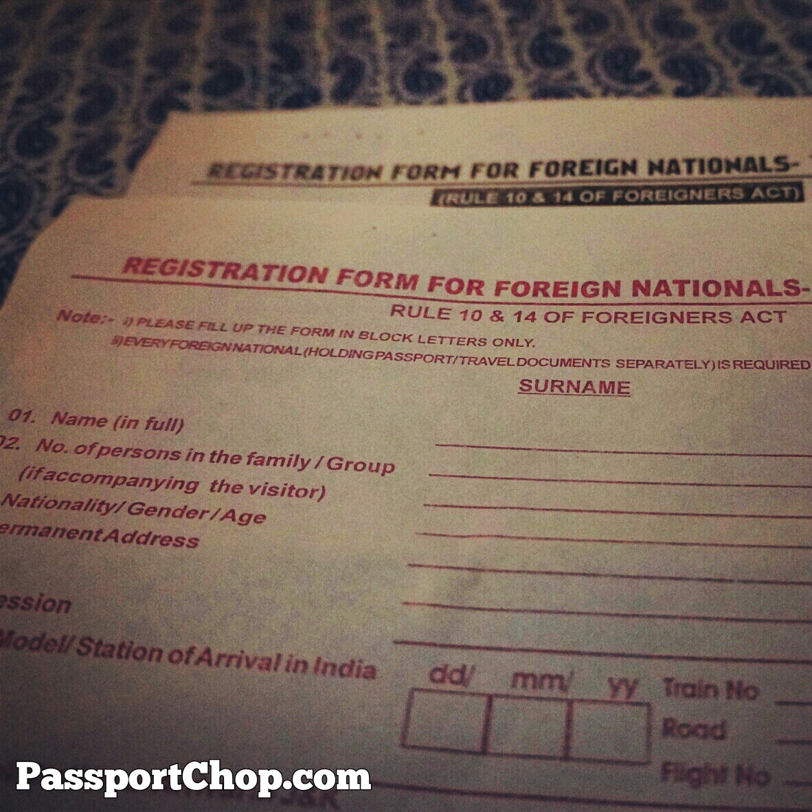 Srinagar Foreigner Arrival Departure Registration Form Security Inspection India