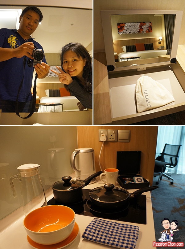 Singapore Staycation Singapore Travel Blog Capri by Fraser Residence Hotel Accommodation review Hotel Room Kitchenette Hairdryer Amenities Free Kettle Chips Peanuts and Popcorn