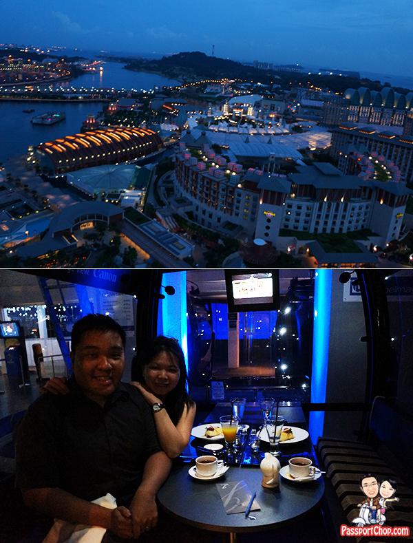 Night Scene of Resorts World Sentosa Singapore Sky Dining Cable Car Mount Faber Sentosa