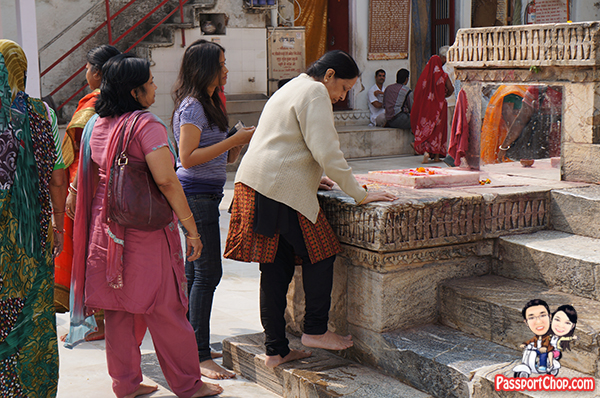 Jagdish Temple Udaipur Rubbing against Stone Marble Slab to Cure Pains Aches India