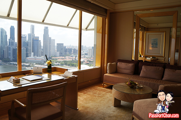 Ritz-Carlton Millenia Singapore Hotel Staycation Premier Suite Living Room View of Marina Bay Sands CBD Skyline Merlion Floating Platform Perfect National Day Parade View Fireworks