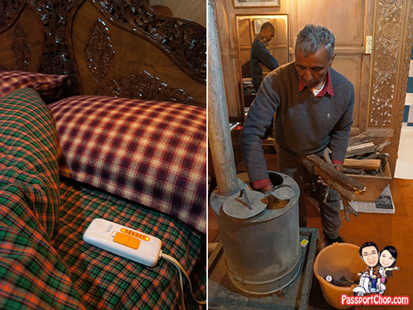 Bostan Gulistan Houseboat Srinagar Kashmir India Home cooked Ashraf Guru Butler Abdul Electric Blanket Heater Stove Firewood Dal lake