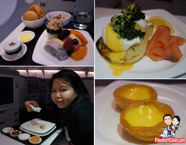 TransAsia Airways 復興航空 business class food Eggs Benedict Poached Eggs Nuts Fruits Bread singapore to Taipei