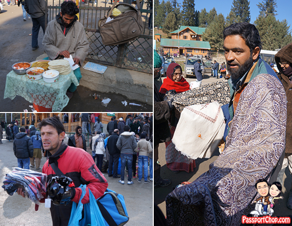 Long Queue Gulmarg peddlers snacks, shawls, scarf, winter wear, warm clothing
